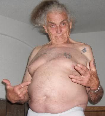 Old man no shirt
