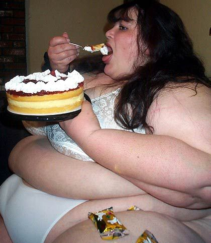 Naked Fat Woman And Cake 73